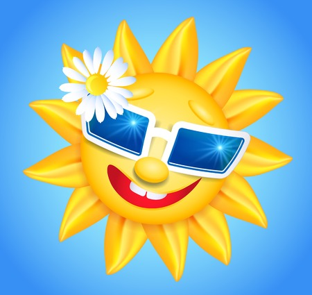 laughable: Smiling shines sun in glasses with flower on blue background