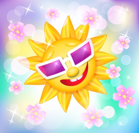 Smiling shines sun in glasses with flowers on blur varicoloured background