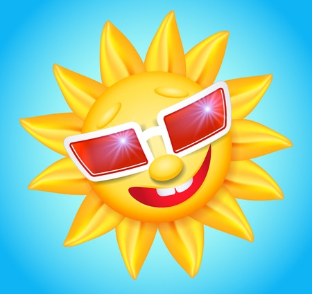 laughable: Smiling shines sun in red glasses on blue background