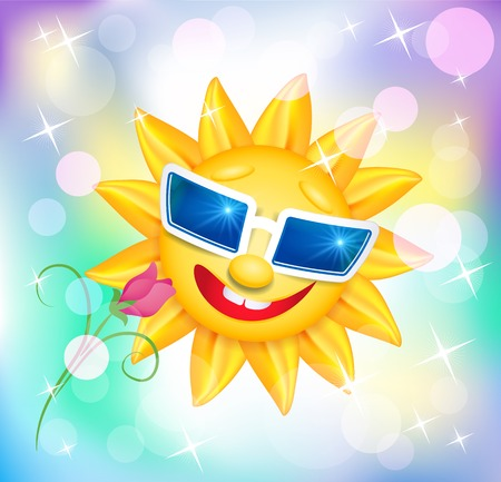 laughable: Smiling shines sun in glasses with flower on blur varicoloured background Illustration