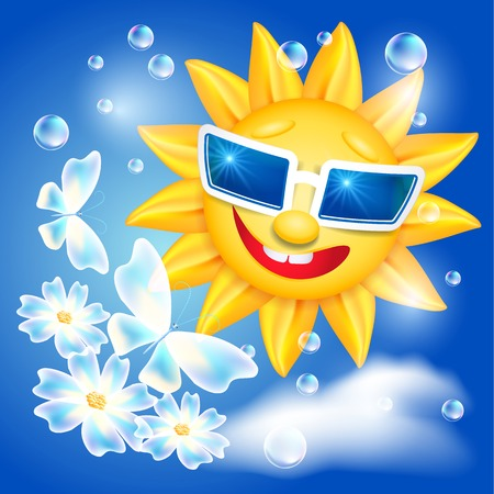laughable: Smiling shines sun in glasses with butterfly and flowers on blue sky background