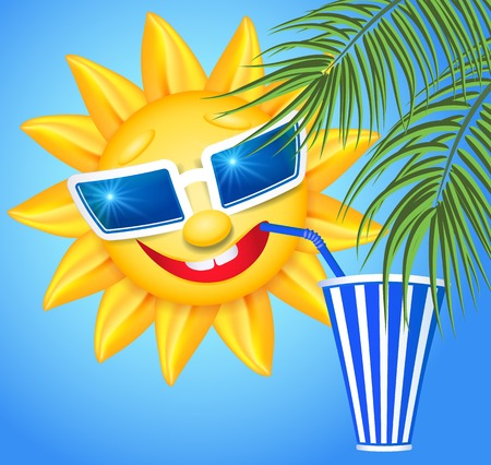 Funny sun drinking cool drink from straws and palm branches