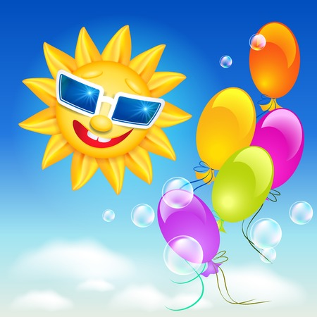 laughable: Smiling shines sun in glasses on blue sky background and balloons
