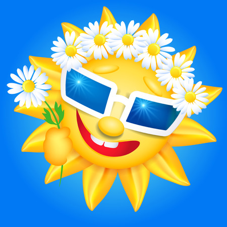 laughable: Smiling shines sun in glasses and chaplet on blue background