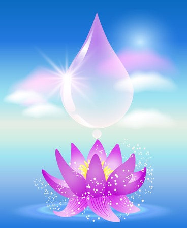 flecks: Water drop, clouds and lilies. Symbol of clean water.