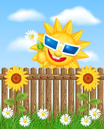 glass fence: Wooden fence on grass with sunflower and smiling sun Illustration
