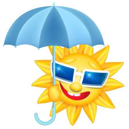 laughable: Smiling shines sun in glasses with umbrella