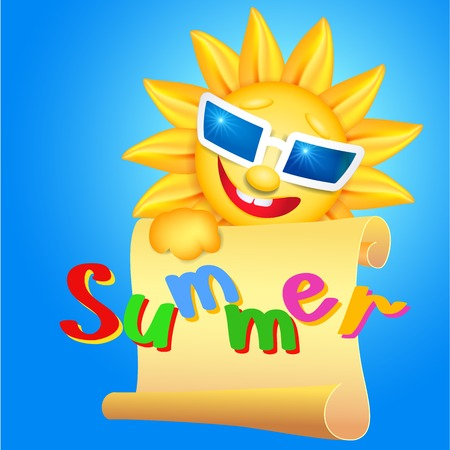 holds: Smiling sun in glasses holds parchment with inscription Summer