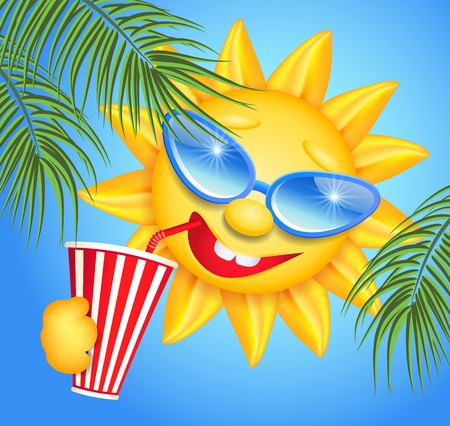 laughable: Funny sun drinking cool drink from straws and palm branches