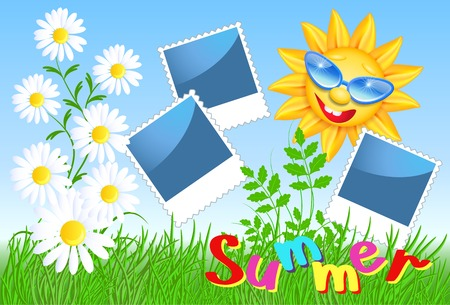 Smiling sun in glasses with frame and daisy Illustration