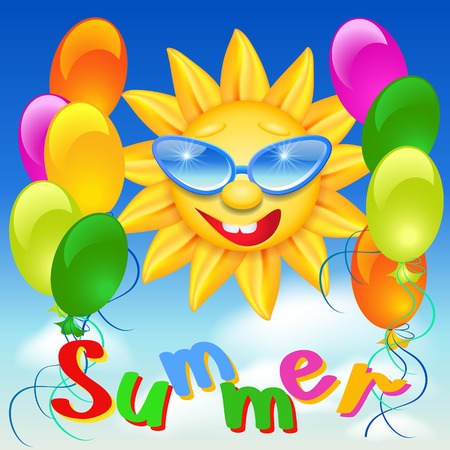 Smiling shines sun in glasses on blue sky background and balloons