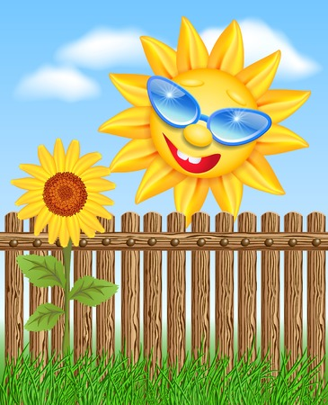 Smiling sun peeks out from behind a fence and looks at sunflowers Illustration