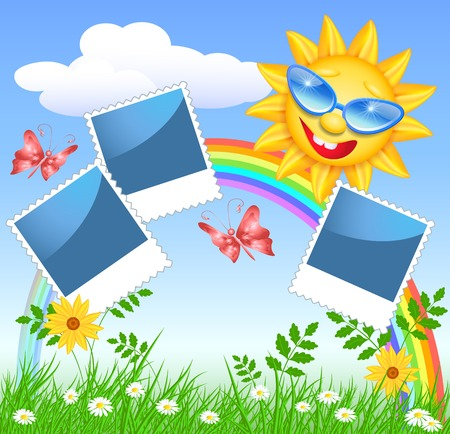colorful frame: Smiling sun in glasses with rainbow and frame Illustration