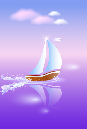 Sailing boat hastens to dream against purple sunset
