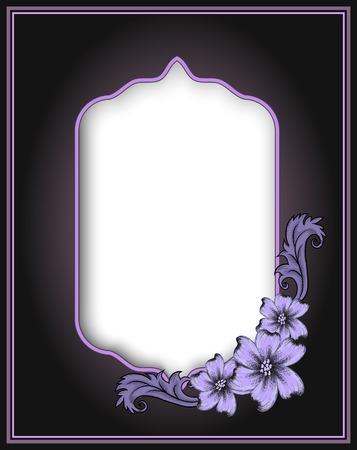 flower border: Vintage corner ornament frame in retro style