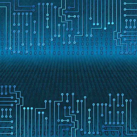 codigo binario: Dibujo circuito electrónico moderno y código binario en fondo azul sucio