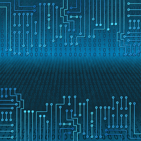 binaries: Drawing modern electronic circuit and  binary code on blue grungy background