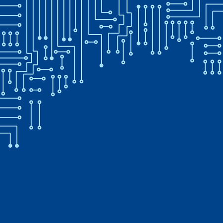 electronics: Drawing modern electronic circuit on blue background