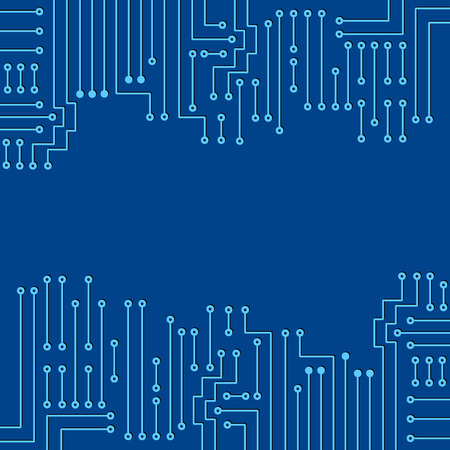 Drawing modern electronic circuit on blue background