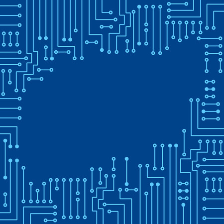 electronic background: Drawing modern electronic circuit on blue background