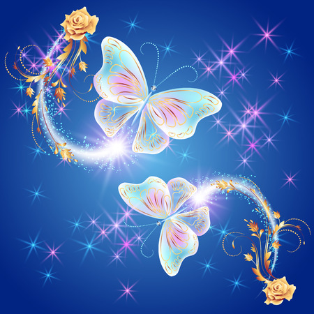 fab: Transparent flying butterflies with golden ornament, rose and glowing firework