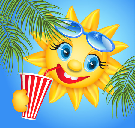 fun in the sun: Funny sun drinking cool drink from straws and palm branches