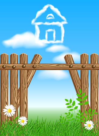 fences: House from clouds in the sky and wooden fence. Dream of house in the countryside.
