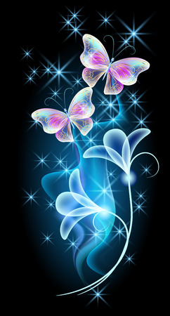 Transparent flying butterflies with golden ornament, flowers and glowing firework Illustration