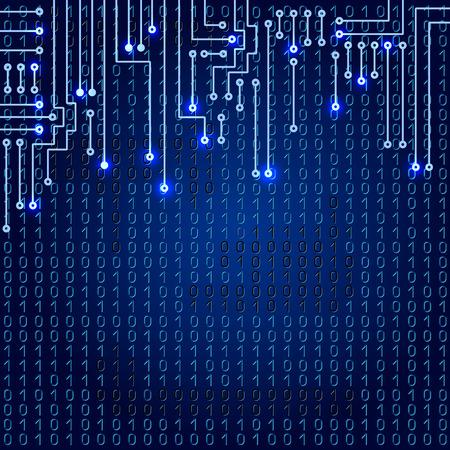 binaries: Drawing modern electronic circuit on blue background
