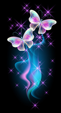 fab: Transparent flying butterflies with golden ornament, flowers and glowing firework Illustration