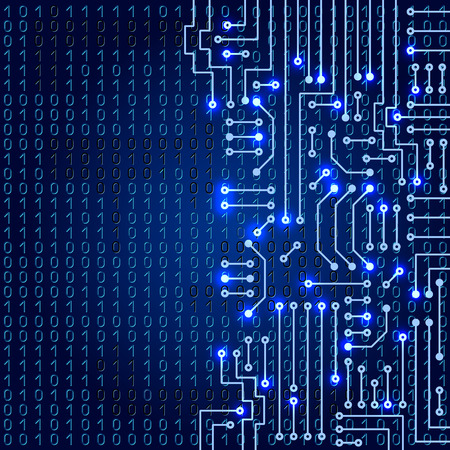 circuits: Drawing modern electronic circuit on blue background