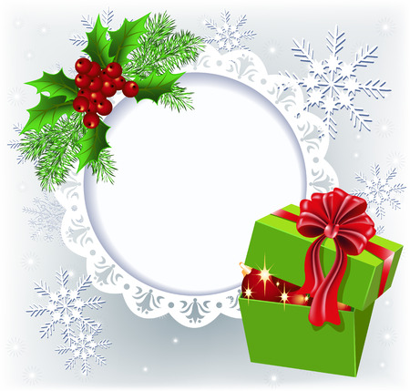 frame  box: Gift box with Christmas decoration round frame for text or photo