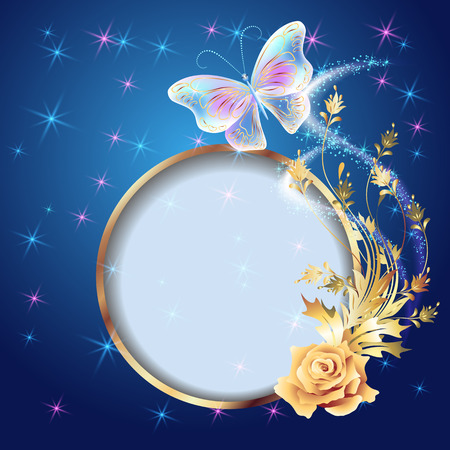 golden frame: Transparent flying butterfly with golden ornament, round frame and glowing firework