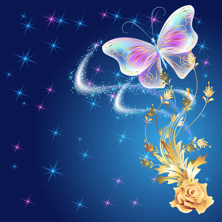 fab: Transparent flying butterfly with golden ornament, rose and glowing firework