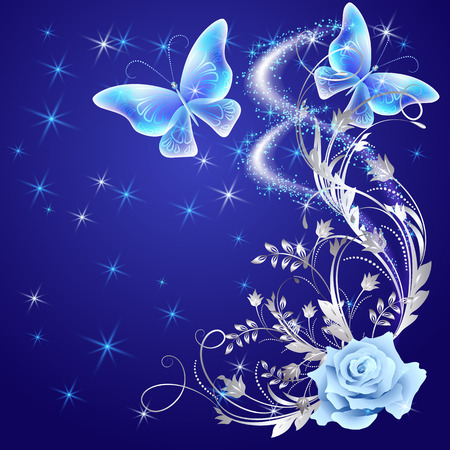 butterflies flying: Transparent flying butterflies with silver ornament, rose and glowing firework Illustration