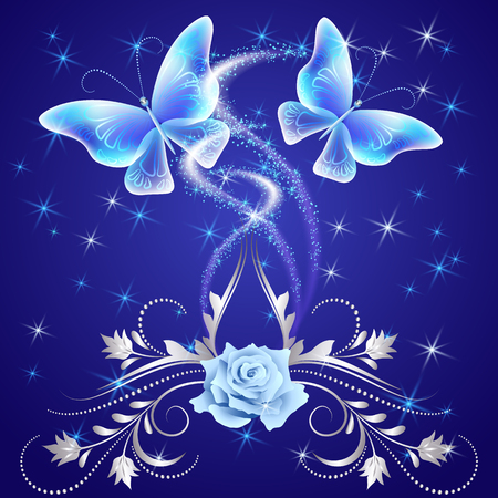 fab: Transparent flying butterflies with silver ornament, rose and glowing firework Illustration