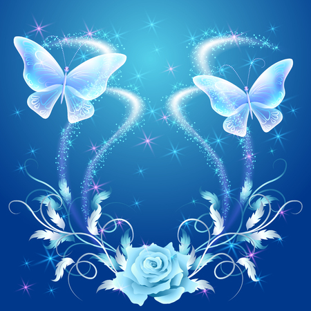 shimmering: Transparent flying butterflies with silver ornament, rose and glowing firework Illustration