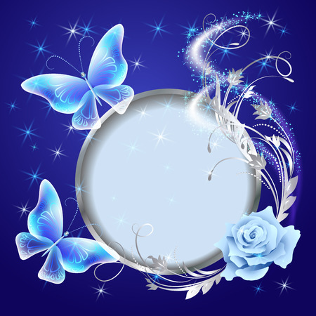 fab: Transparent flying butterflies with silver ornament, round frame and glowing firework