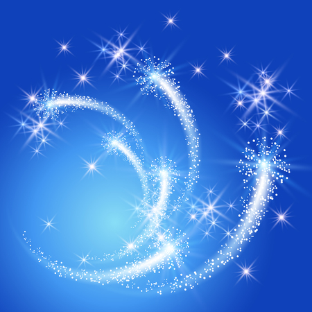 swirl background: Glowing salute and firework with sparkle stars Illustration