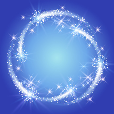 sparkle: Glowing blue background with sparkle stars round frame Illustration