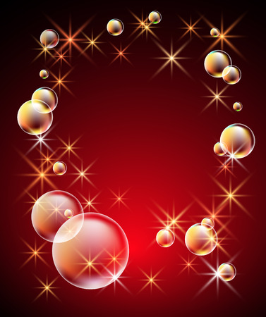 Magic glowing background with bubbles and shining stars Illustration