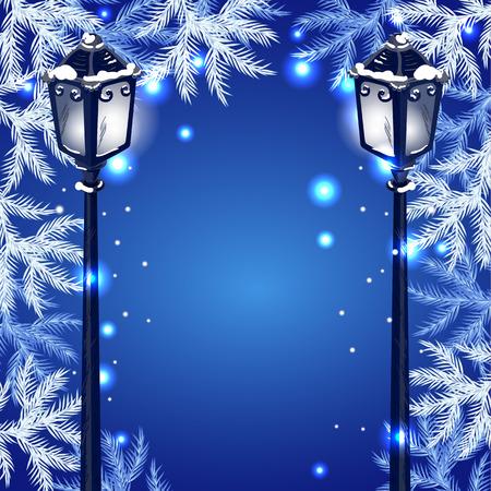 fur tree: Christmas vintage streetlamp on the evening landscape background and fur tree
