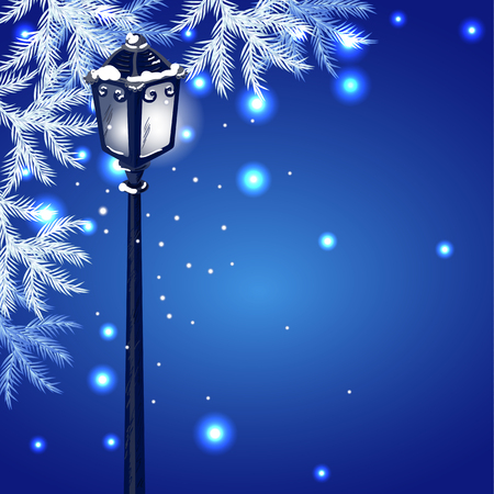 lampposts: Christmas vintage streetlamp on the evening landscape background and fur tree
