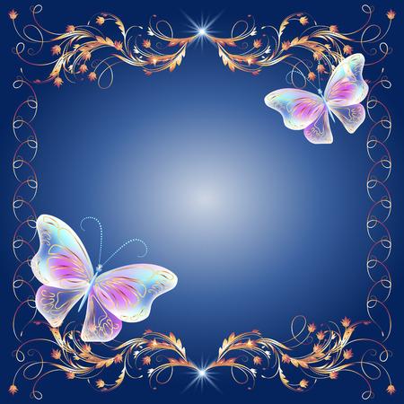 Floral golden frame with transparent magic butterflies