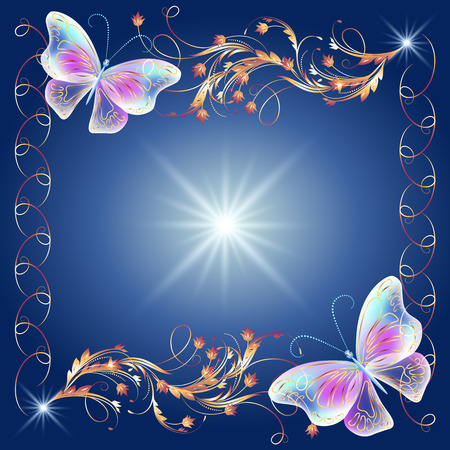 fab: Floral golden frame with transparent magic butterflies