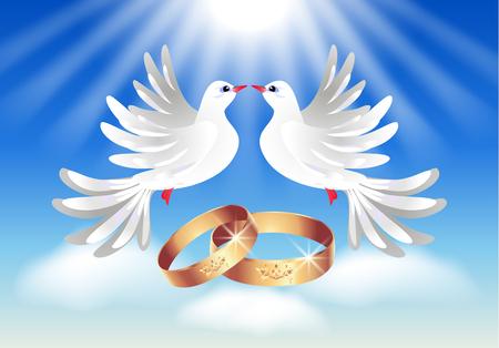 ringe: Karte mit Eheringen und zwei Tauben in den Himmel Illustration