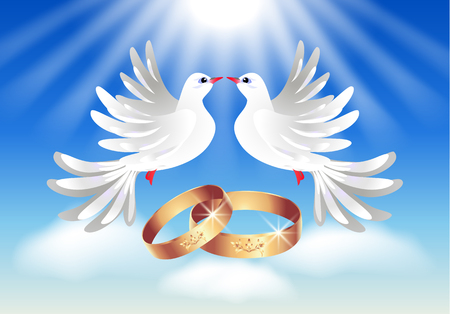 Card with wedding rings and two doves in the sky