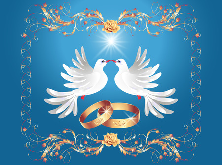 the spouse: Card with wedding rings and two doves Illustration