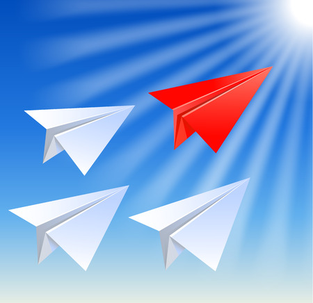 follow the leader: Paper planes follow their leader on the sun rays background Illustration