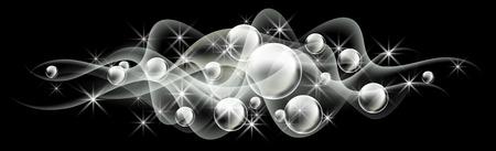 Gloeiende achtergrond met bubbels en rook Stock Illustratie